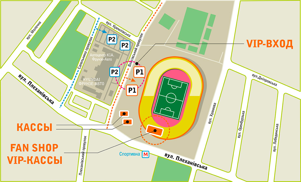 The scheme of the location of the casinos of the stadium